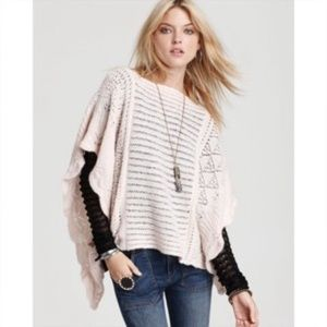Free People Poncho Ballet Wrap Sweater Cream Color